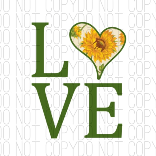 Love With Sunflower Print Digital Design