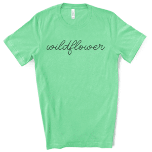 wildflower screen print transfer on mint tshirt