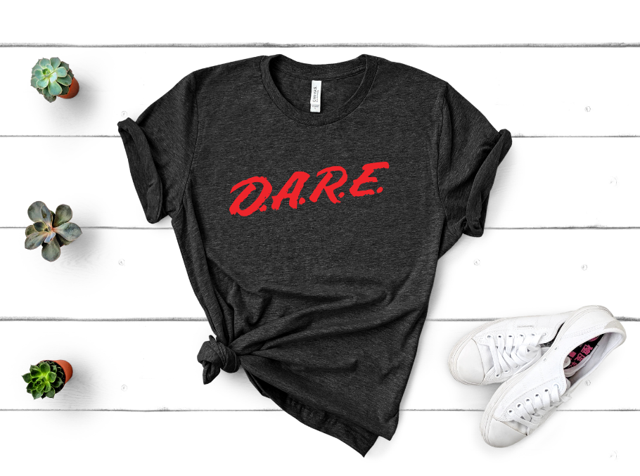 d.a.r.e screen print transfer mockup