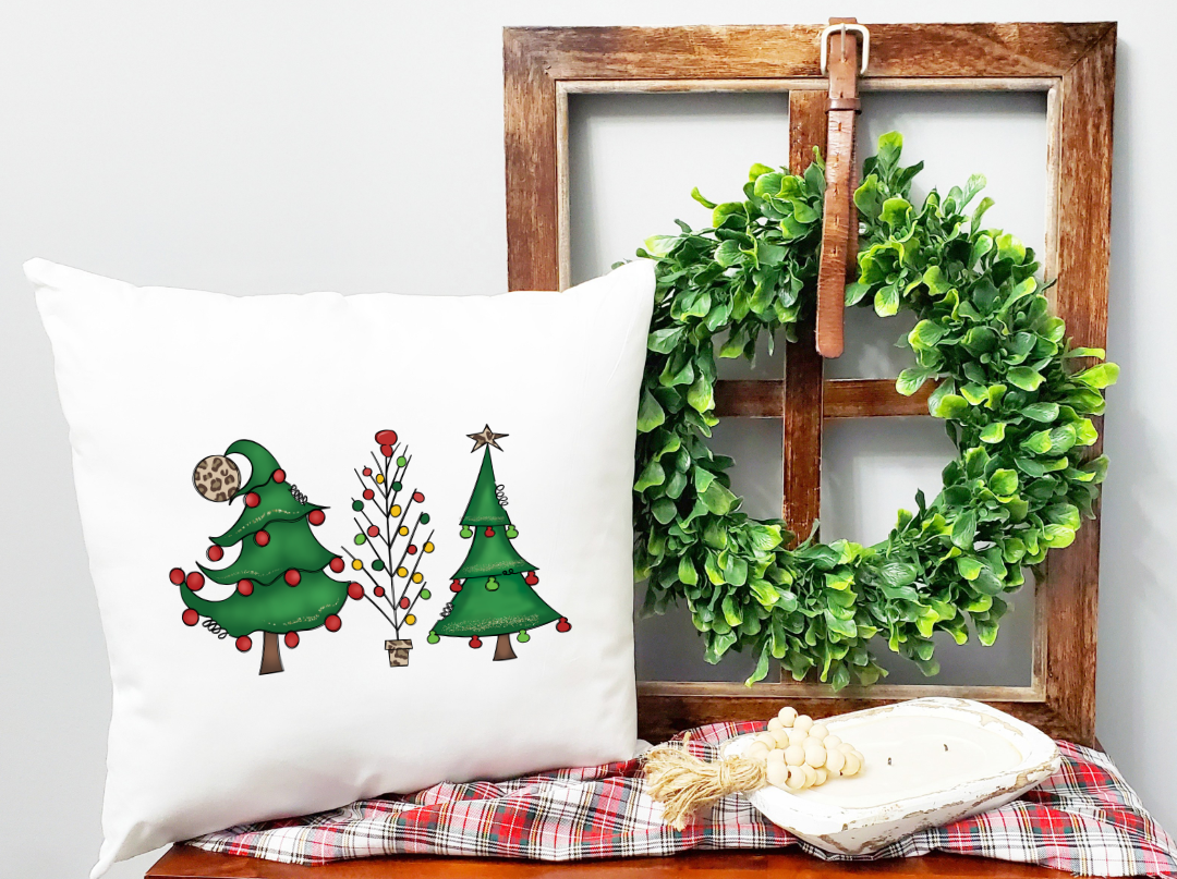 christmas trees color pillow
