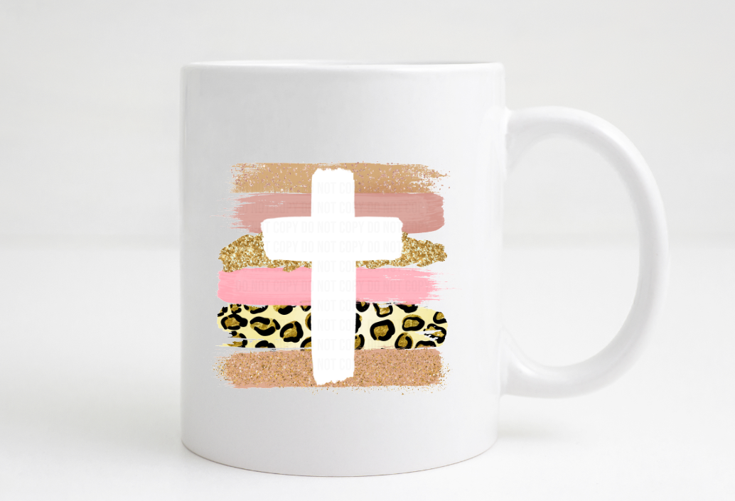 brushstroke pink cross coffee mug
